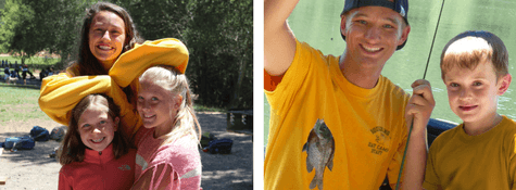 Camp Friends Smile with Counselor, Camper Poses with Freshly-Caught Fish