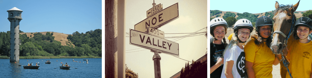 """Campers Row Out Across the Lafayette Reservoir, """"Noe"""" and """"Valley"""" Street Signs Intersect in Noe Valley, Teen Campers Smile with a Horse Favorite"""