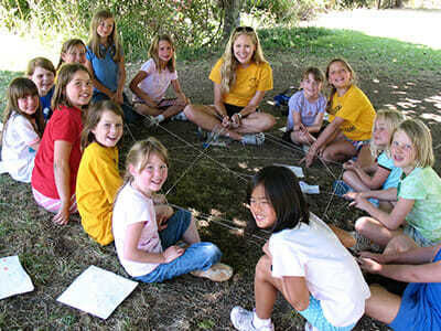 Young Campers Play a Group Game with String