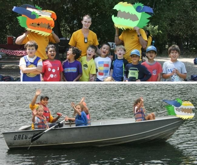 campers and staff dress up at lafayette reservoir, row in rowboat