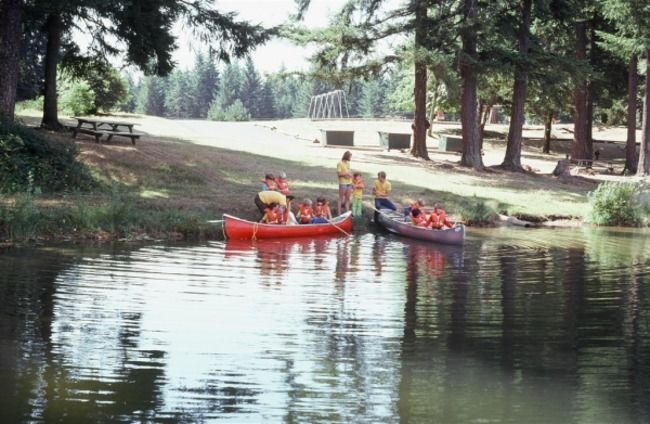 Campers with canoe.